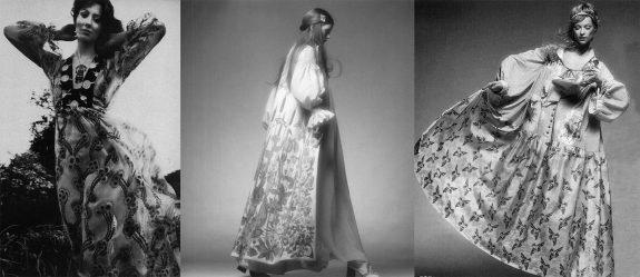 Celia Birtwell-Ossie Clark-1960s-three fashion photographs-pastoral-folk