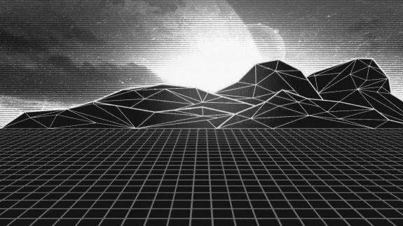 Synthwave-lightgrid landscape