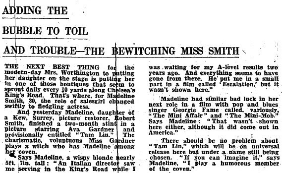 Tam Lin-Madeline Smith interview-24th September 1969-A Year In The Country