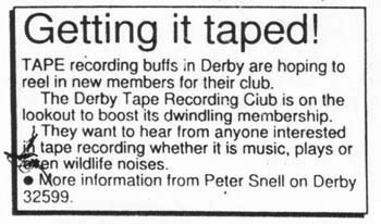 Mark Vernon-Meagre Resource-Derby Tape Club advert-A Year In The Country