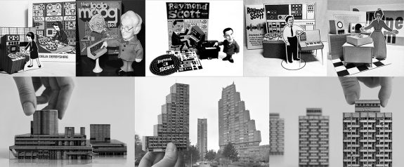 Delia-Derbyshire-Bob Moog-Raymond Scott-Daphne Oram-Press Pop figure-Heykidsrocknroll diorama-Zupagrafika-Brutal London East