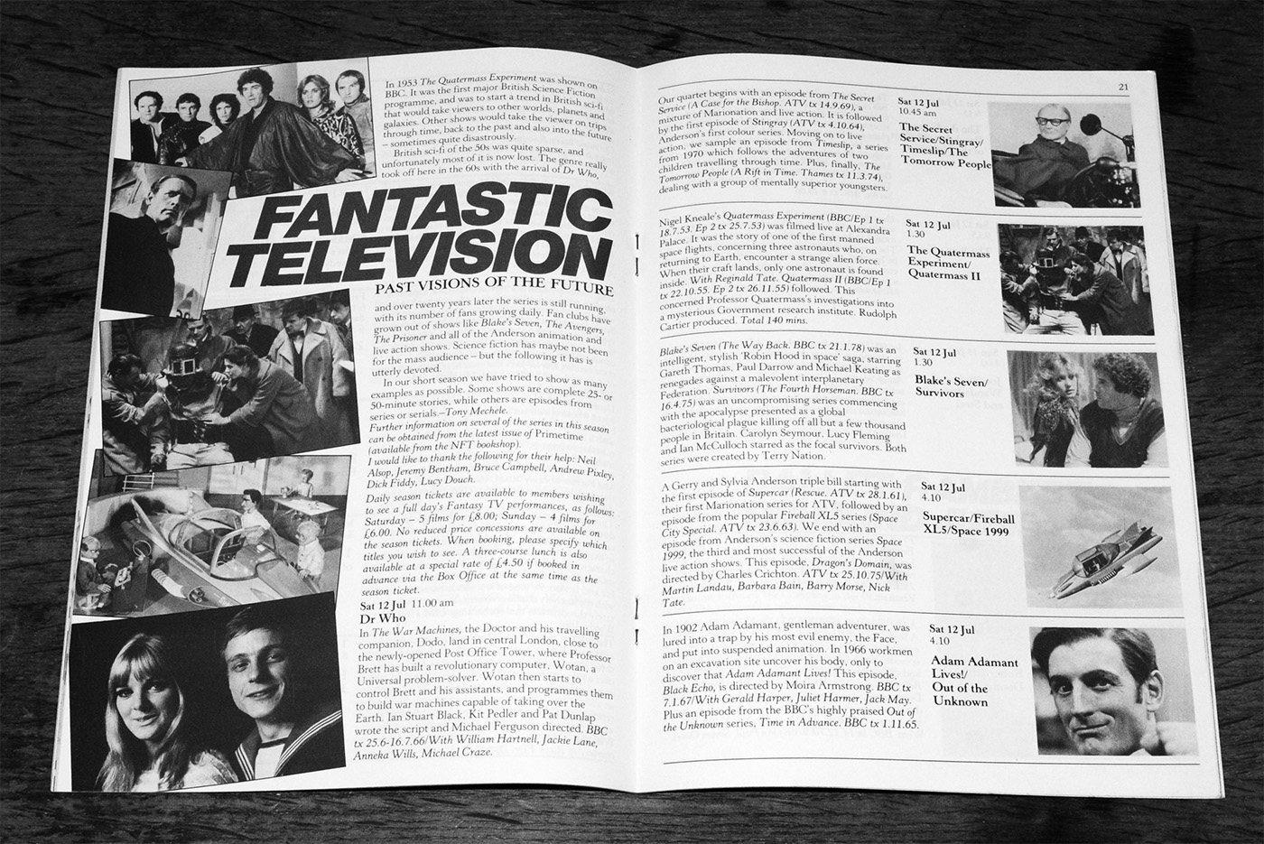 NFT-1986 festival brochure-Fantastic Television-The Tomorrow People-Quatermass-Space 1999-Dr Who-A Year In The Country