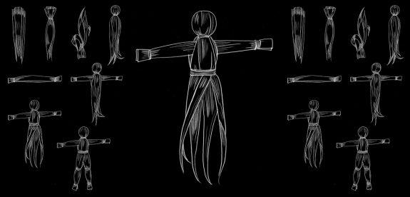 Corn Husk Doll-instruction illustration-how to make-6-black