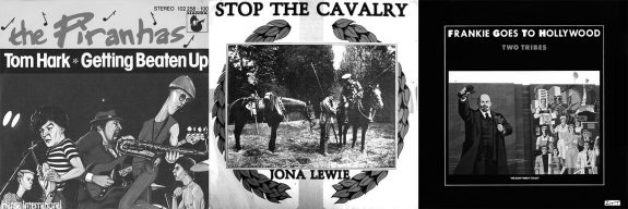 The Pirahnas-Tom Hark-Jona Lewi-Stop the Cavalry-Frankie Goes to Hollywood-single covers